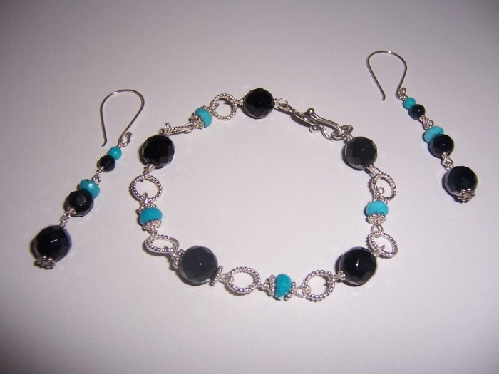 Sterling Silver Bracelet and Earrings Set with Black Onyx and Turquoise