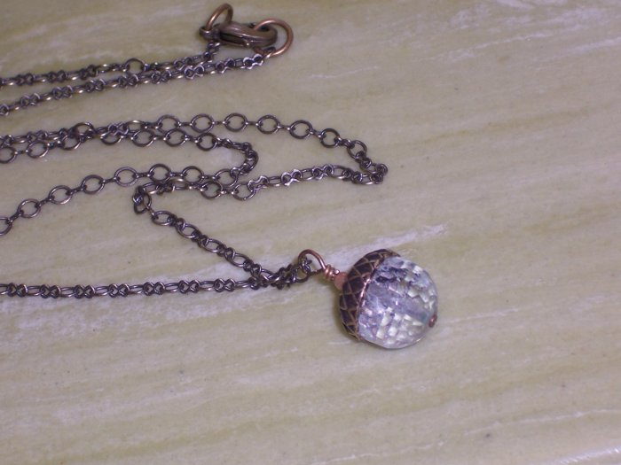 Crystal Clear Acorn Pendant on Antique Brass Chain
