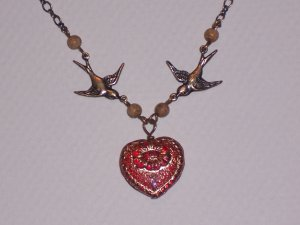 Red Heart Baby Swallow Love Bird Necklace on Antiqued Brass