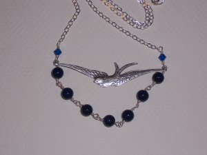 Flying Swallow Bird Necklace on Sterling Silver Chain