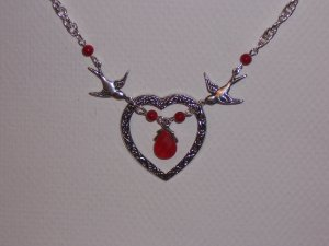 Sparrow Birds Necklace with Red Heart Love Pendant