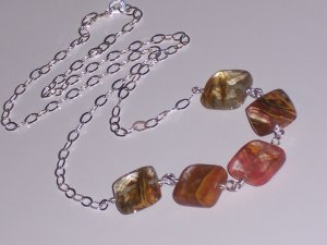 Tiger Cherry Quartz Necklace on Sterling Silver Chain