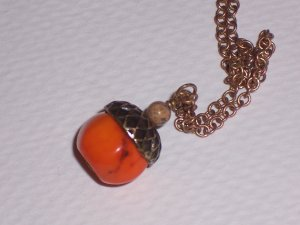 Antiqued Acorn Pendant with Orange Turquoise on 18 inch Chain FREE SHIPPING TO THE US