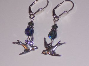 Flying Love Sparrow Bird Earrings on Sterling Silver Lever Backs and Blue Swarovski Crystals