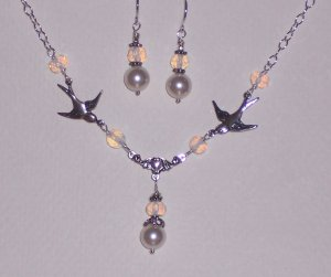 Sparrow Love Birds Necklace and Earrings Set with White Pearls and Opalite