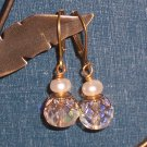 Antiqued Brass Earrings with Clear Glass and White Freshwater Pearls