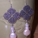 Filigree Cross and  White Coin Pearl Earrings