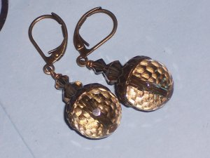 Antiqued Smokey Acorn Earrings with Swarovski Crystals