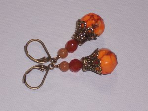 Orange Turquoise Drops - Antiqued Brass Earrings with Carnelian Stones