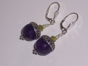 Amethyst and Peridot Acorn Earrings on Sterling Silver Lever backs