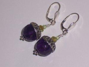 Amethyst and Peridot Acorn Earrings on Sterling Silver Lever backs