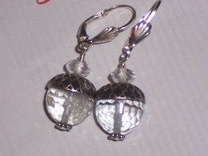 Rock Crystal Acorn Earrings on Sterling Silver Leverbacks