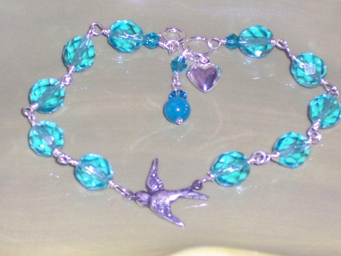 Swallow Bracelet - Light Aqua Czech Glass Beads Swarovski Crystals and Heart Charm