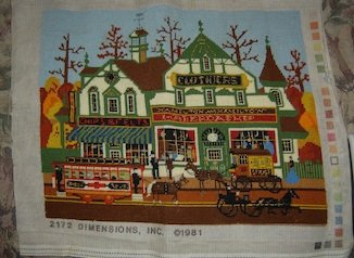 SOLD Vintage Wysocki Village Shopping Needlepoint COMPLETED / FINISHED Picture!