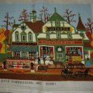 Vintage Wysocki Village Shopping Needlepoint COMPLETED / FINISHED Picture!