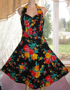 Vintage Tropical/Hawaiian Halter Dress, Sweetheart Neckline, Cotton, Sz. 7; EXC!