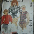 Vintage McCall's Brooke Shields Sewing Pattern #9146 Shirts/Vest/Scarf Sz. 12, 34 Bust