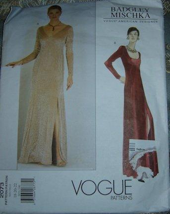 Vogue Badgley Mischka American Designer Sewing Pattern 2073 Evening Gown 18/20/22
