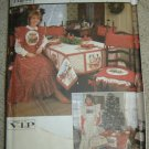 Vtg. Simplicity Crafts Sewing Pattern 8772 Christmas Apron, Chair Cover, Tablecloth+
