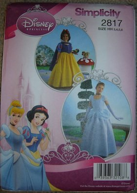 Simplicity Sewing Pattern 2817 Disney Princess Costume (Snow White, Cinderella) HH (3-6)