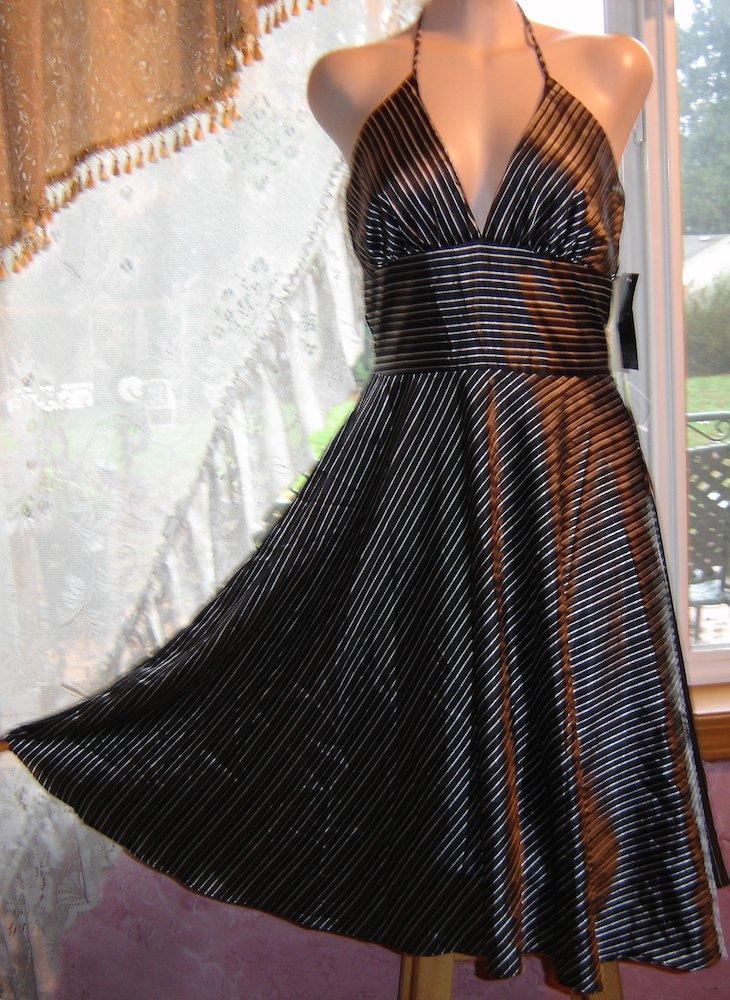 Alyn Paige Silky Satin Halter Dress, Flirty Full Skirt! Sz. 3/4; NWT!