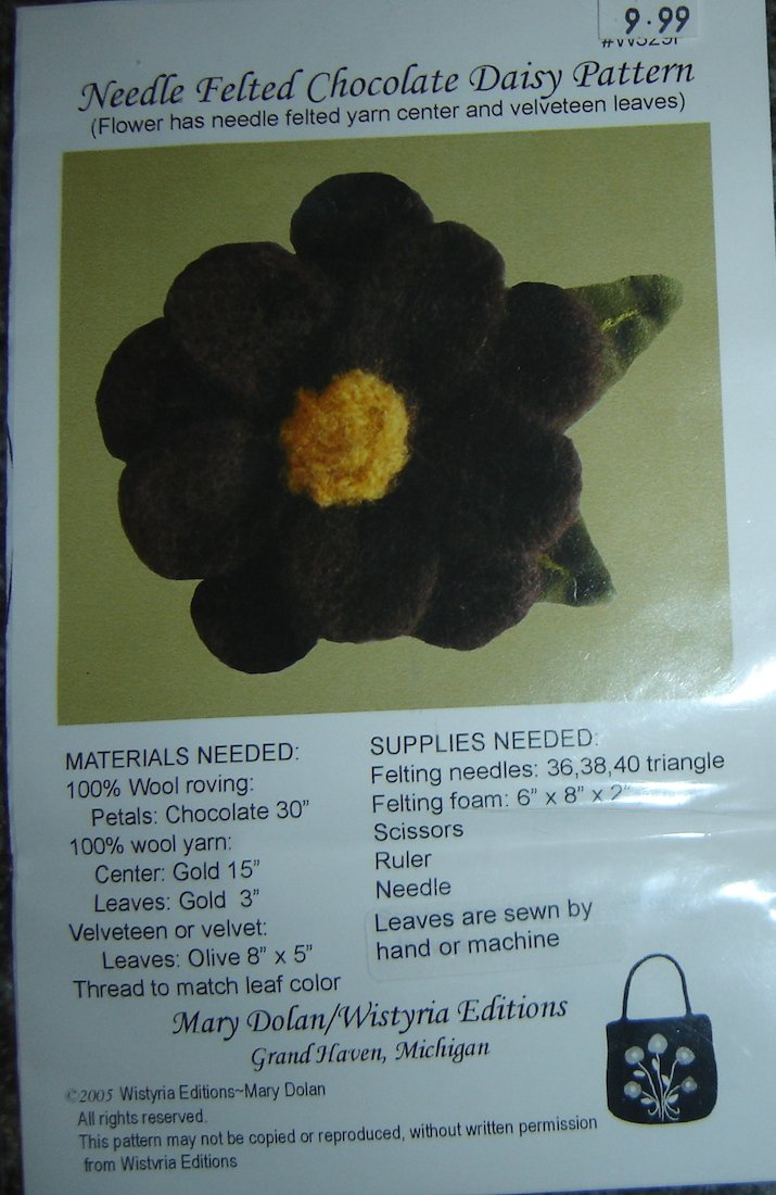 Wistyria Editions Needle Felted Chocolate Daisy Pattern by Mary Dolan