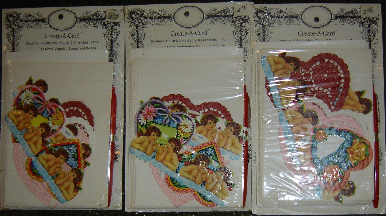 Vintage Create-A-Card Victorian England Die-Cut Valentine Cherubs/Hearts & Doilies! 3 Pkgs.!