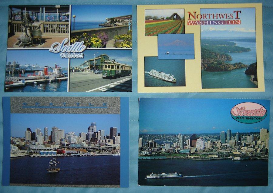 Vintage Seattle, WA, Waterfront Postcard Lot (4 Postcards)