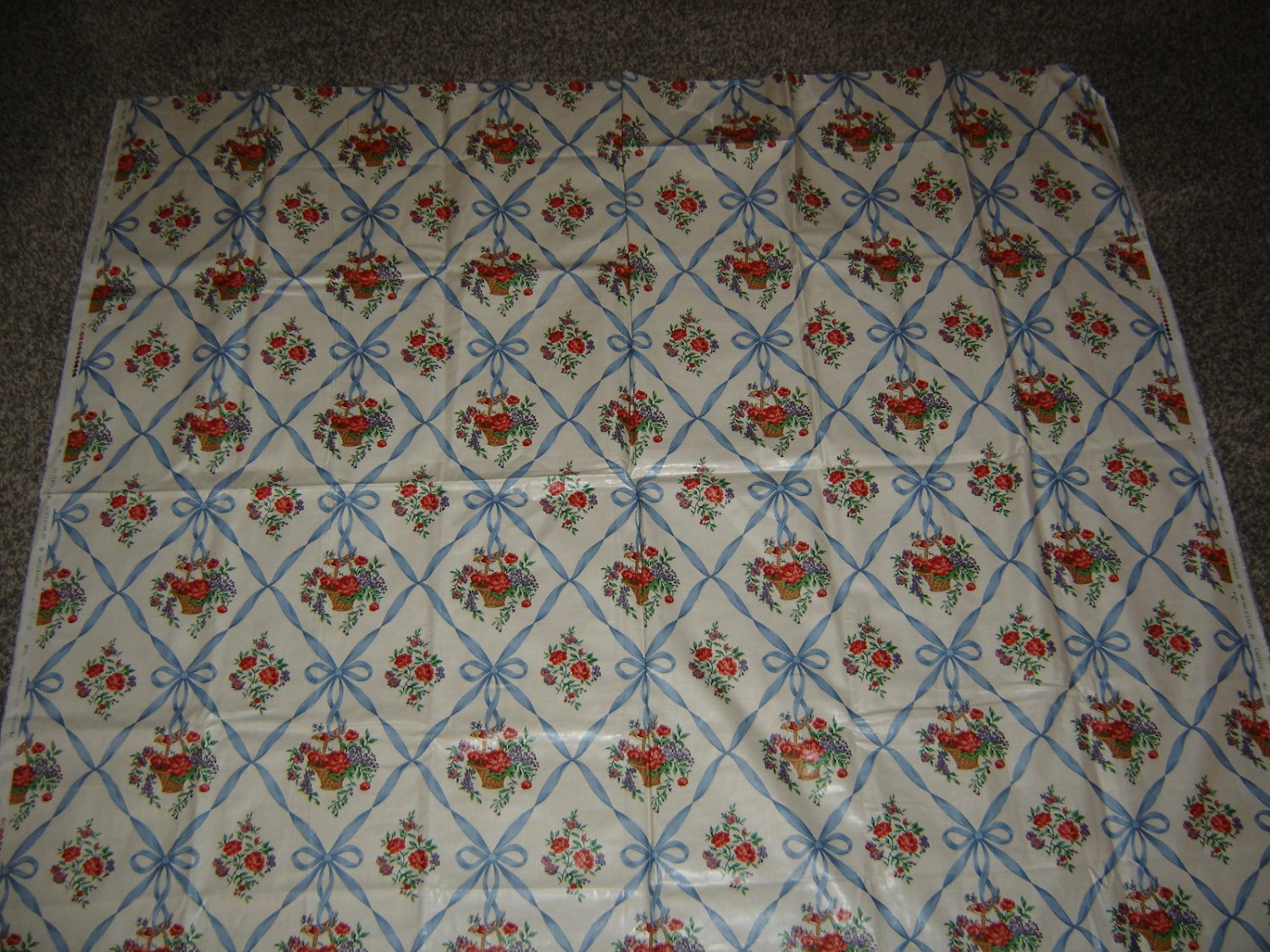 Vtg. Greeff Made in England Alouette Fabric: Floral/Birds/Baskets & Ribbons!EXC