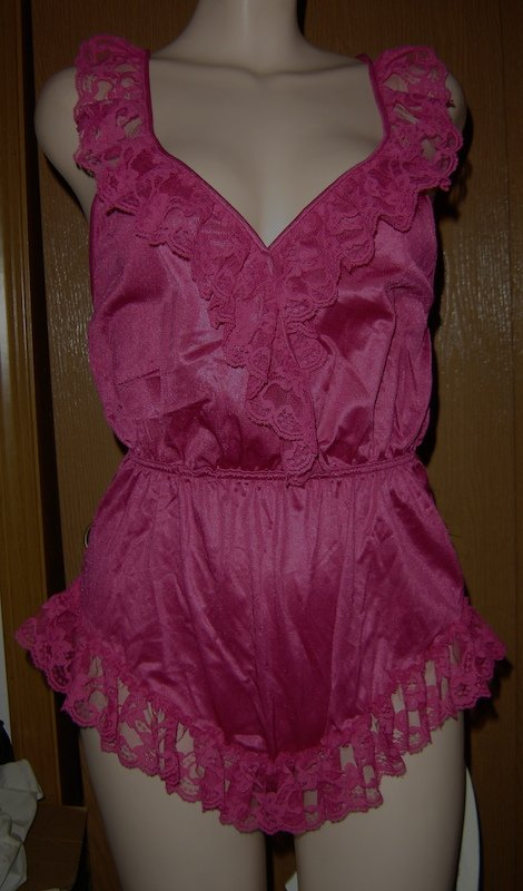 Vintage Val Mode Maroon Teddy w/Sheer Lace!  Sissy & Sassy!  Sz. S