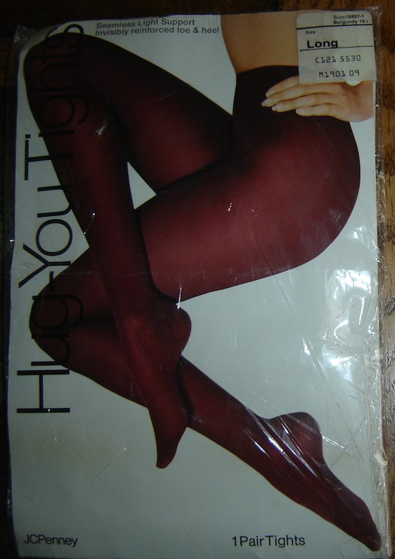 Vintage JC Penney Hug-You Tights / Pantyhose Seamless, Burgundy, LONG