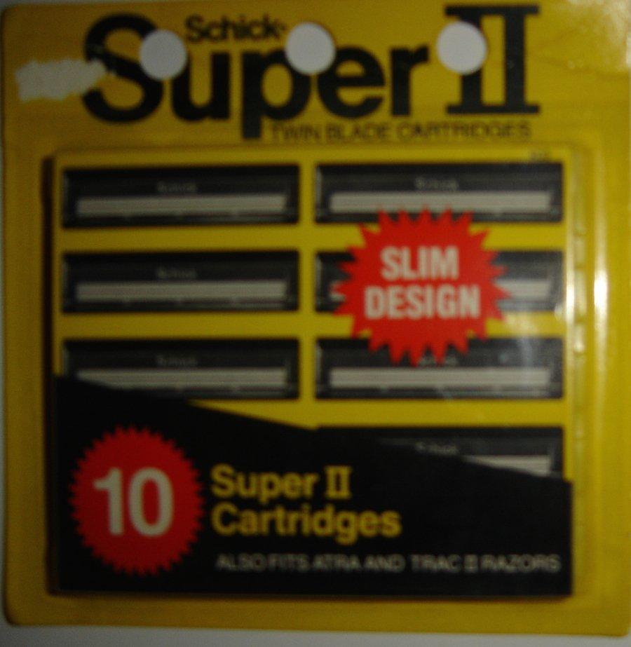SCHICK Super II Twin Blade Cartridges, Pack of 10, Also Fits Atra & Trac II Razors