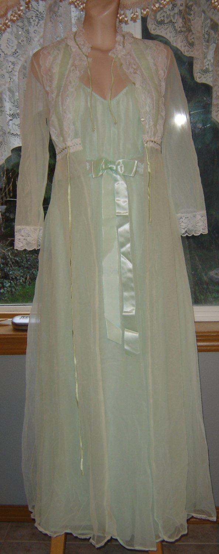 Vintage Foam Green Nightgown & SHEER CHIFFON Miss Elaine Peignoir Robe! Sz. S