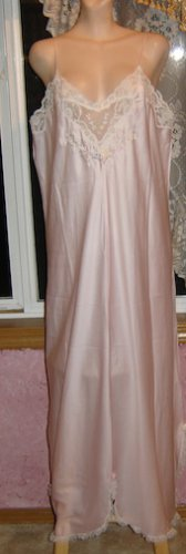 SISSY SILKY SATIN Pink Nightgown w/Lace, Sz. 1X / XL; EXC!!
