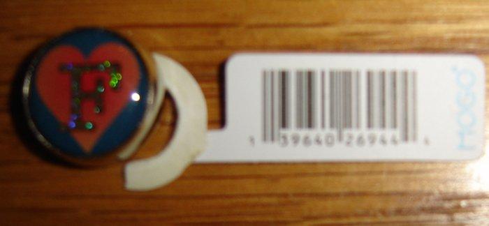 """MOGO Magnet Charm, Letter """"F"""" Inside Pink Heart (Single Initial/Monogram)"""
