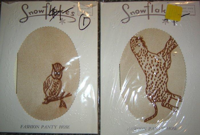 Vintage Snowflakes Pantyhose, Owl & Leopard w/Rhinestone Eyes! 2 Prs. OSFA!