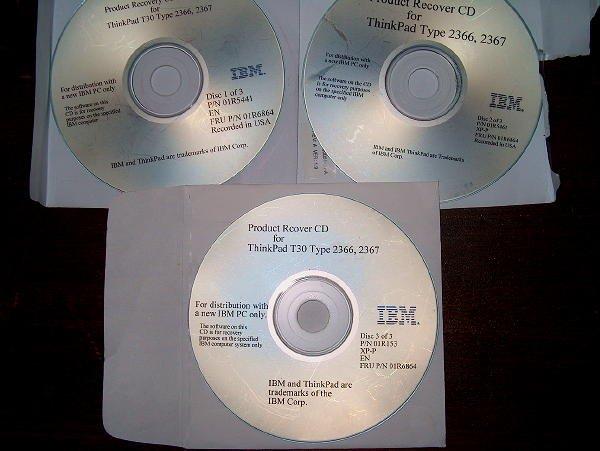 IBM T30 Type 2366, 2367 Utility CD's FRU P/N 01R6864