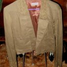 Olive drab linen waist lenght summer jacket
