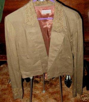 Olive drab linen waist lenght summer jacket