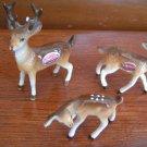 3 Piece Vintage Bone China Deer Statues