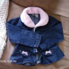 FADED GLORY GIRL'S FAUX FUR COLLAR DENIM JACKET SIZE 5t