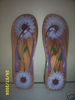 Ladies Wood sandals Purple Flowers Bare Feet sexy