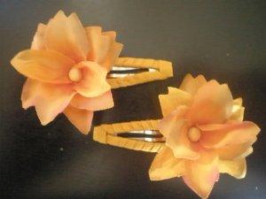 Angela's Accessories Orange Flower Clips