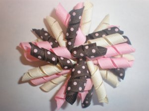 Angela's Accessories Pink/Cream/Brown Polka-dot Korker Bow