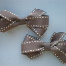 Angela's  Accessories Brown Saddle-stitch Classic Bows