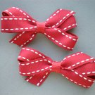Angela's Accessories Red Saddle Stitch Classic Bows