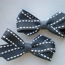 Angela's Accessories Black Saddle-stitch Classic Bows