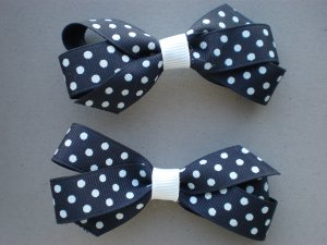 Angela's Accessories Navy Blue Polka-dot Classic Bows