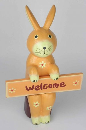 EASTER BUNNY Orange RABBIT  FIGURINE WOODEN HAND CARVED very cute