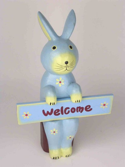 EASTER BUNNY Blue RABBIT  FIGURINE WOODEN HAND CARVED so cute